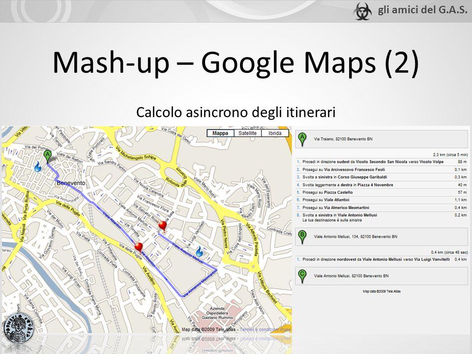 Mash-up – Google Maps (2) Calcolo asincrono degli itinerari