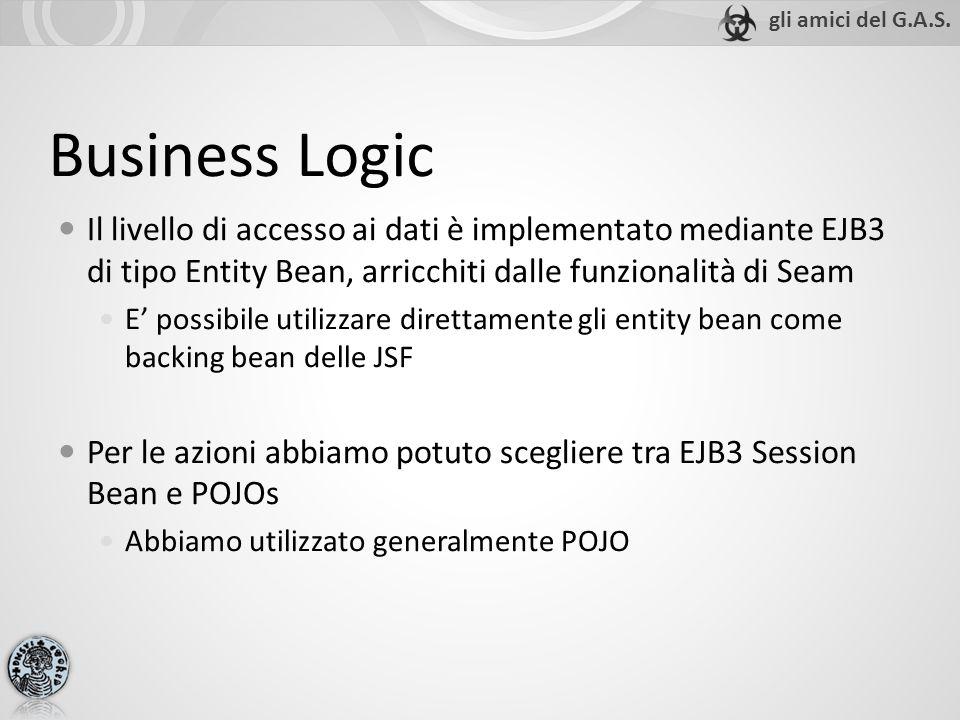 Business Logic Il livello di accesso ai dati è implementato mediante EJB3 di tipo Entity Bean, arricchiti dalle funzionalità di Seam E' possibile utilizzare direttamente gli entity bean come backing bean delle JSF Per le azioni abbiamo potuto scegliere tra EJB3 Session Bean e POJOs Abbiamo utilizzato generalmente POJO