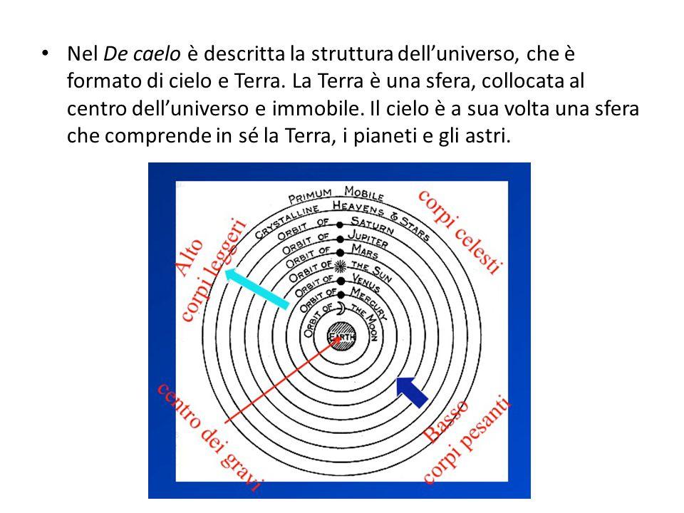 Nel De caelo è descritta la struttura dell'universo, che è formato di cielo e Terra. La Terra è una sfera, collocata al centro dell'universo e immobil