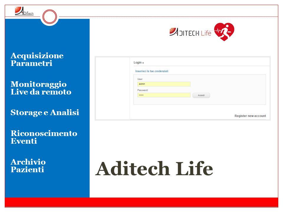 Aditech Life Acquisizione Parametri Monitoraggio Live da remoto Storage e Analisi Riconoscimento Eventi Archivio Pazienti