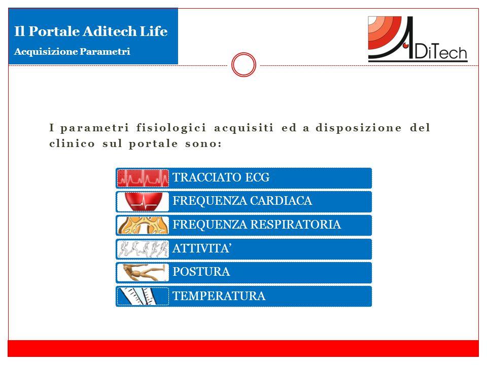 I parametri fisiologici acquisiti ed a disposizione del clinico sul portale sono: Il Portale Aditech Life Acquisizione Parametri TRACCIATO ECG FREQUENZA CARDIACA FREQUENZA RESPIRATORIA ATTIVITA' POSTURA TEMPERATURA