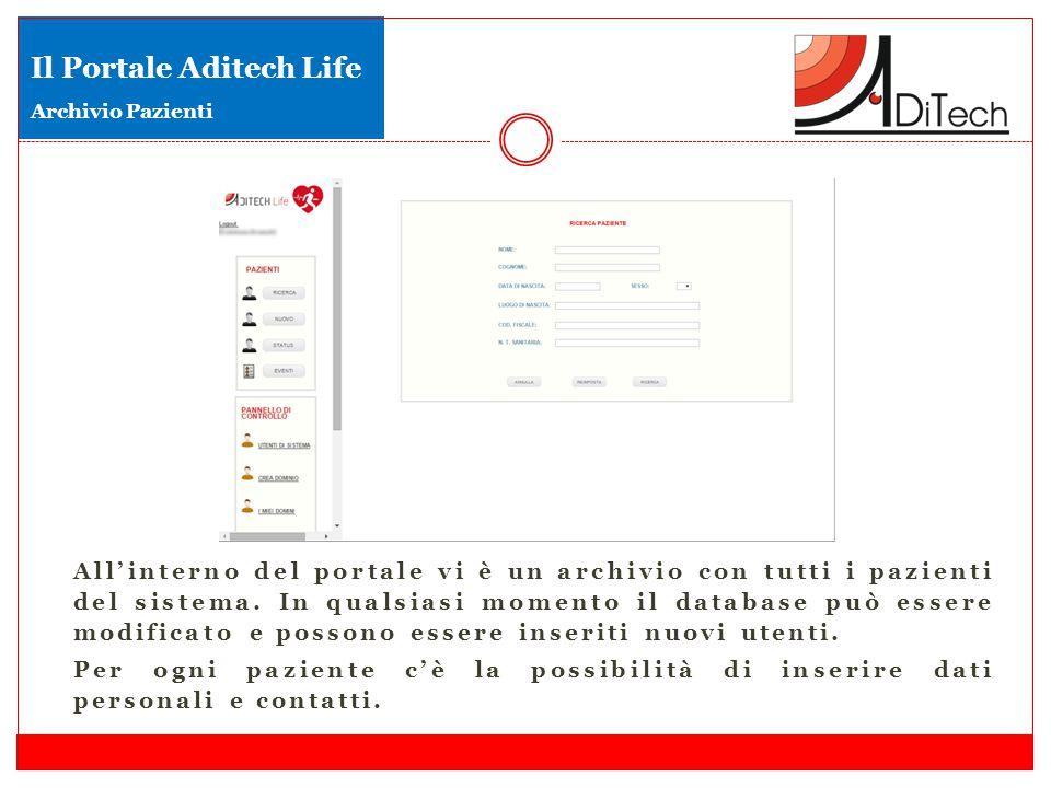 All'interno del portale vi è un archivio con tutti i pazienti del sistema. In qualsiasi momento il database può essere modificato e possono essere ins