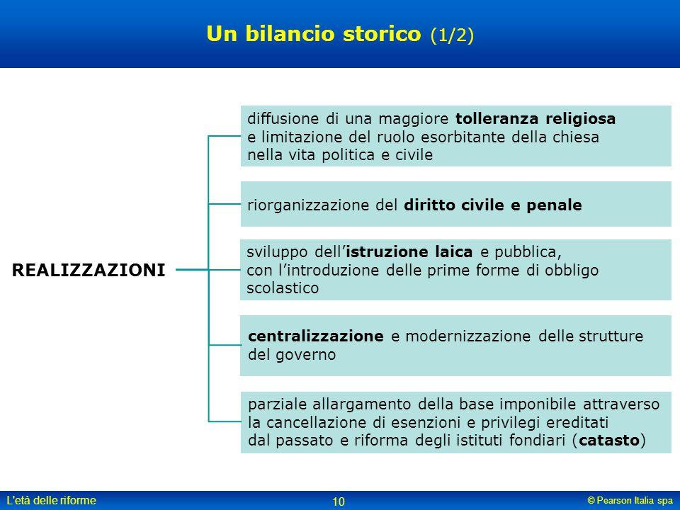© Pearson Italia spa L'età delle riforme 10 sviluppo dell'istruzione laica e pubblica, con l'introduzione delle prime forme di obbligo scolastico diff