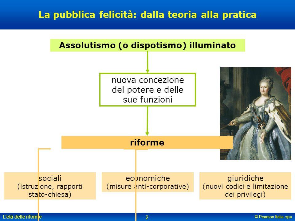 © Pearson Italia spa L'età delle riforme 2 La pubblica felicità: dalla teoria alla pratica sociali (istruzione, rapporti stato-chiesa) giuridiche (nuo