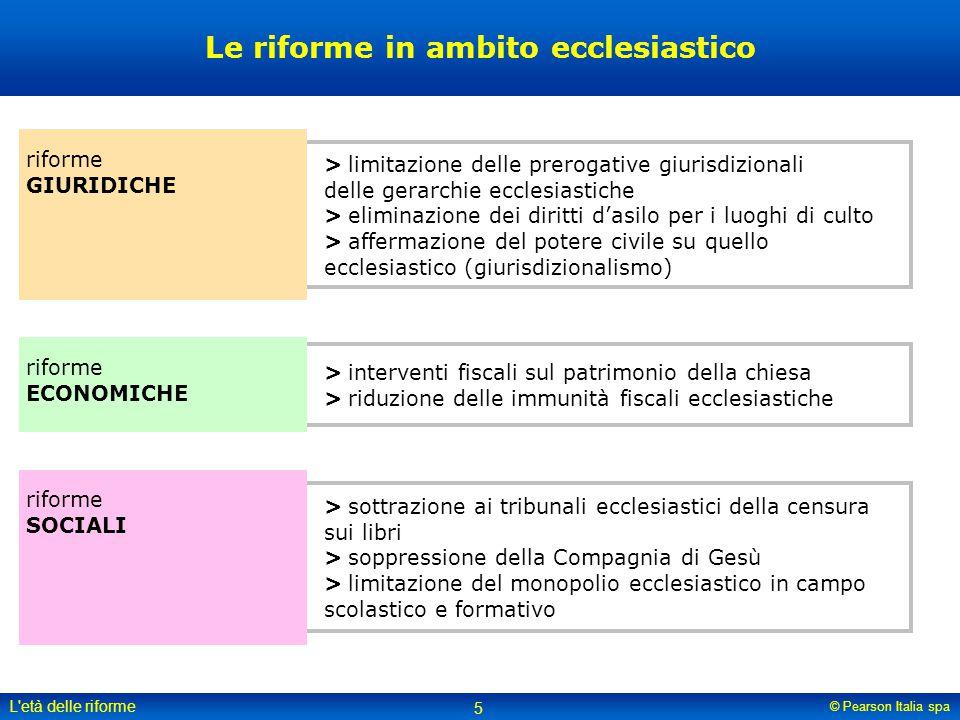 © Pearson Italia spa L'età delle riforme 5 Le riforme in ambito ecclesiastico riforme GIURIDICHE riforme ECONOMICHE riforme SOCIALI >limitazione delle