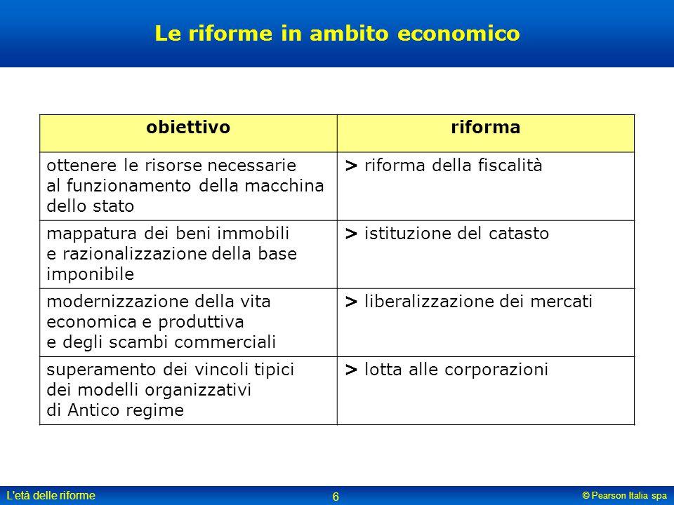 © Pearson Italia spa L'età delle riforme 6 Le riforme in ambito economico obiettivoriforma ottenere le risorse necessarie al funzionamento della macch