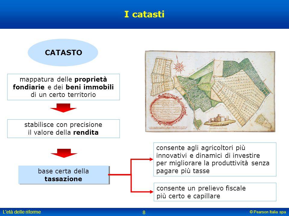 © Pearson Italia spa L'età delle riforme 8 I catasti CATASTO mappatura delle proprietà fondiarie e dei beni immobili di un certo territorio stabilisce