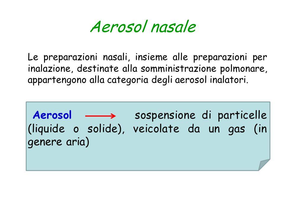 Aerosol nasale Le preparazioni nasali, insieme alle preparazioni per inalazione, destinate alla somministrazione polmonare, appartengono alla categori