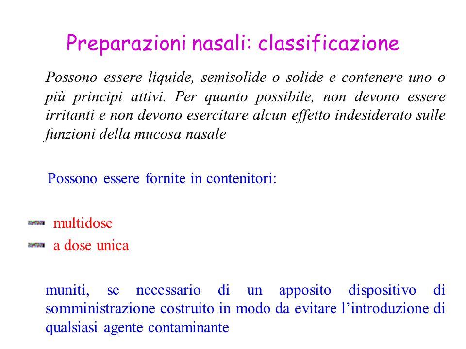 Preparazioni nasali: classificazione Possono essere liquide, semisolide o solide e contenere uno o più principi attivi. Per quanto possibile, non devo