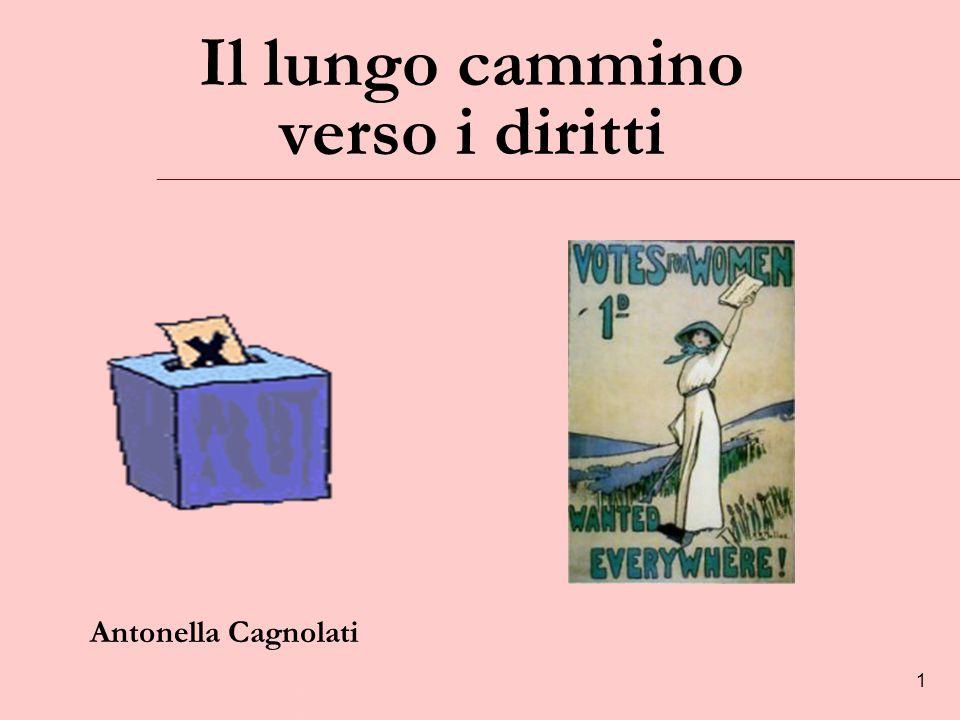 1 Il lungo cammino verso i diritti Antonella Cagnolati