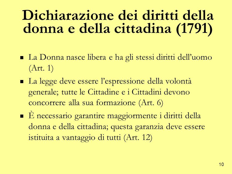 10 Dichiarazione dei diritti della donna e della cittadina (1791) La Donna nasce libera e ha gli stessi diritti dell'uomo (Art.