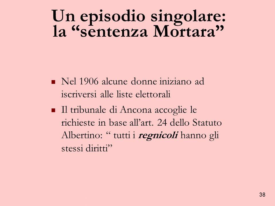 38 Un episodio singolare: la sentenza Mortara Nel 1906 alcune donne iniziano ad iscriversi alle liste elettorali Il tribunale di Ancona accoglie le richieste in base all'art.