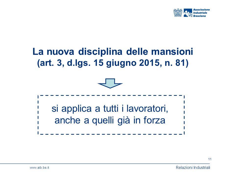 11 www.aib.bs.it Relazioni Industriali La nuova disciplina delle mansioni (art.