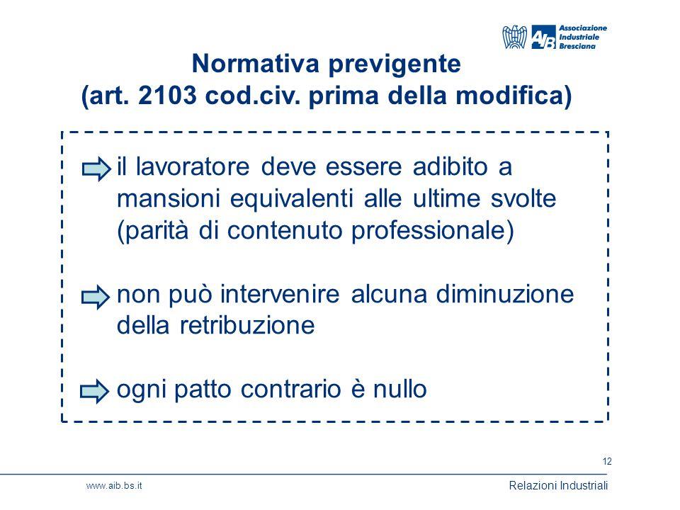 12 www.aib.bs.it Relazioni Industriali Normativa previgente (art.
