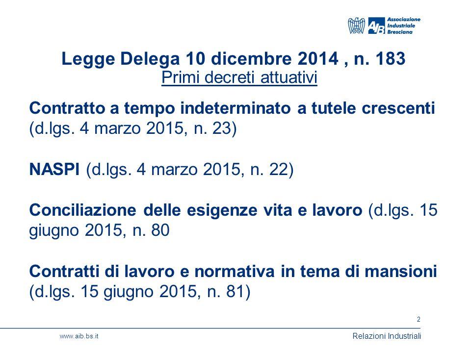 3 www.aib.bs.it Relazioni Industriali La nuova disciplina dei licenziamenti (tutele crescenti) (D.lgs.