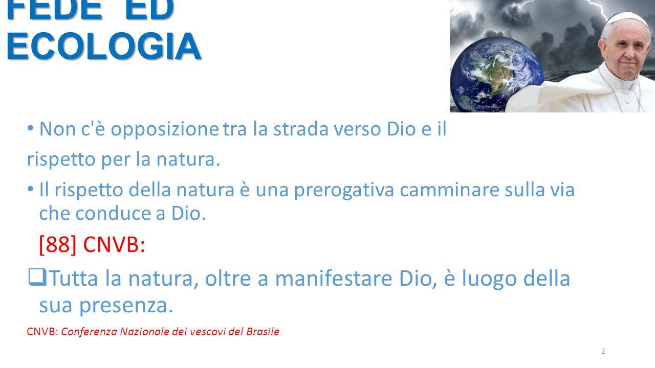 2 Non c'è opposizione tra la strada verso Dio e il rispetto per la natura. Il rispetto della natura è una prerogativa camminare sulla via che conduce