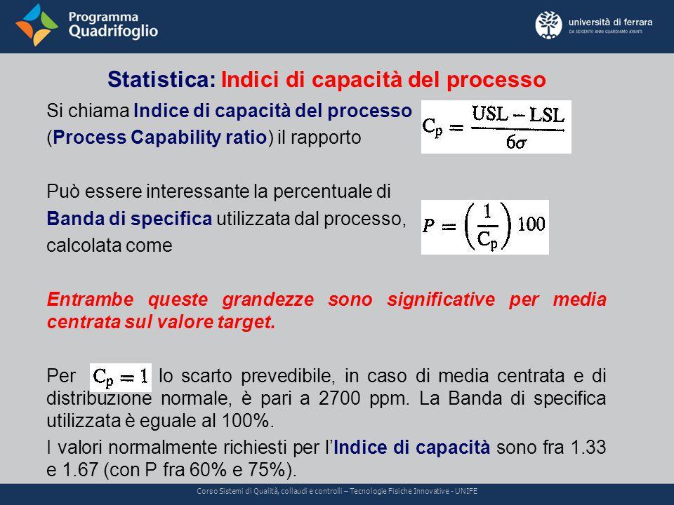 Statistica: capacità e centratura Corso Sistemi di Qualità, collaudi e controlli – Tecnologie Fisiche Innovative - UNIFE Poiché l'ipotesi di processo centrato sul valore target non sempre si realizza, si può valutare l'Indice di capacità.