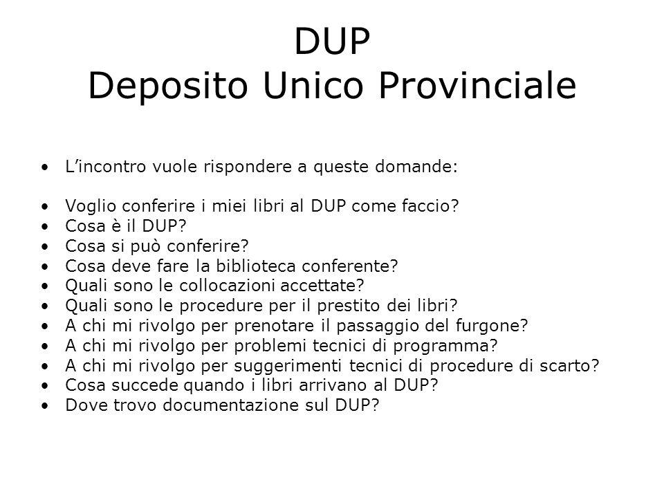 DUP Deposito Unico Provinciale L'incontro vuole rispondere a queste domande: Voglio conferire i miei libri al DUP come faccio.