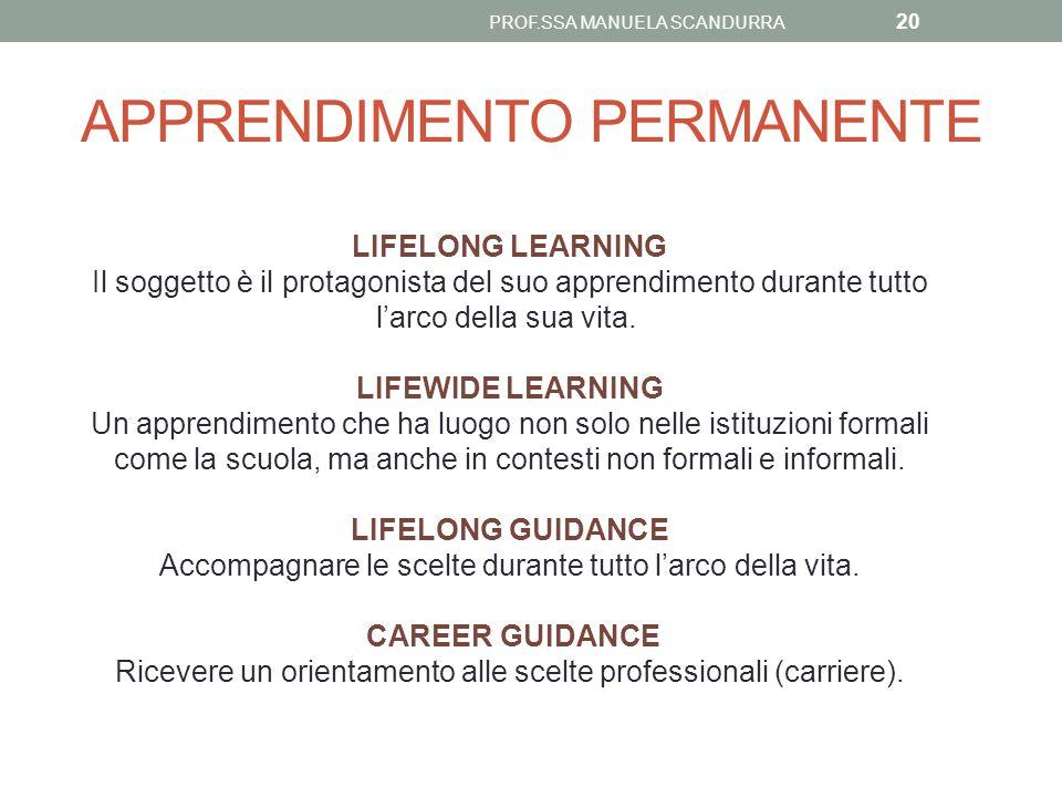 APPRENDIMENTO PERMANENTE PROF.SSA MANUELA SCANDURRA 20 LIFELONG LEARNING Il soggetto è il protagonista del suo apprendimento durante tutto l'arco dell