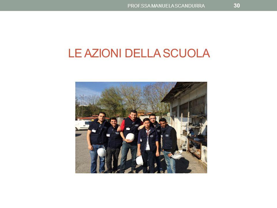 LE AZIONI DELLA SCUOLA PROF.SSA MANUELA SCANDURRA 30