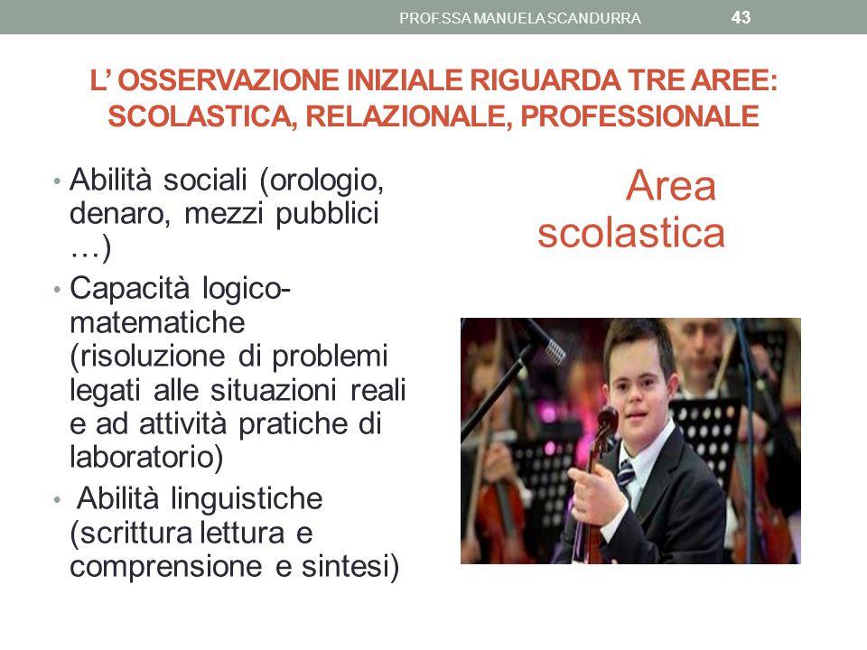 L' OSSERVAZIONE INIZIALE RIGUARDA TRE AREE: SCOLASTICA, RELAZIONALE, PROFESSIONALE Abilità sociali (orologio, denaro, mezzi pubblici …) Capacità logic