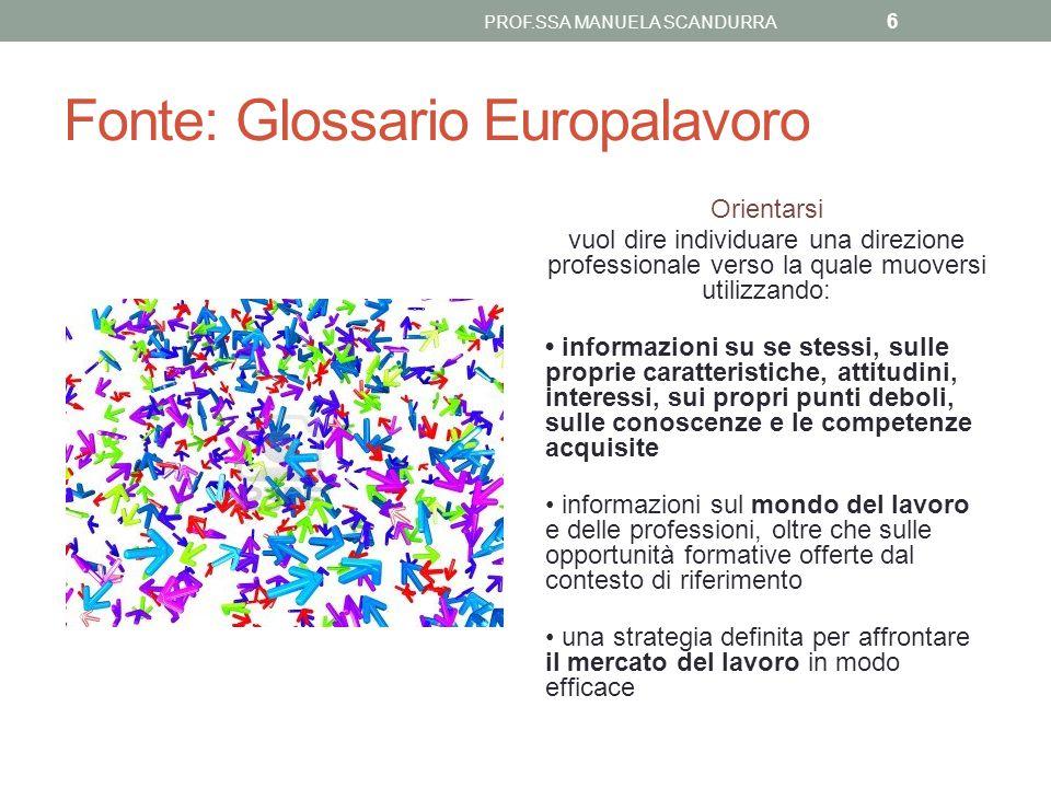 Fonte: Glossario Europalavoro Orientarsi vuol dire individuare una direzione professionale verso la quale muoversi utilizzando: informazioni su se ste