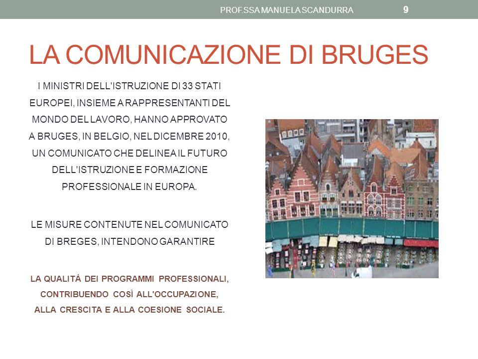 LA COMUNICAZIONE DI BRUGES I MINISTRI DELL'ISTRUZIONE DI 33 STATI EUROPEI, INSIEME A RAPPRESENTANTI DEL MONDO DEL LAVORO, HANNO APPROVATO A BRUGES, IN