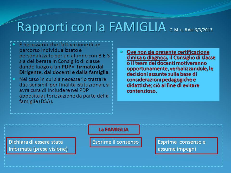Rapporti con la FAMIGLIA C. M. n. 8 del 6/3/2013 È necessario che l'attivazione di un percorso individualizzato e personalizzato per un alunno con B E