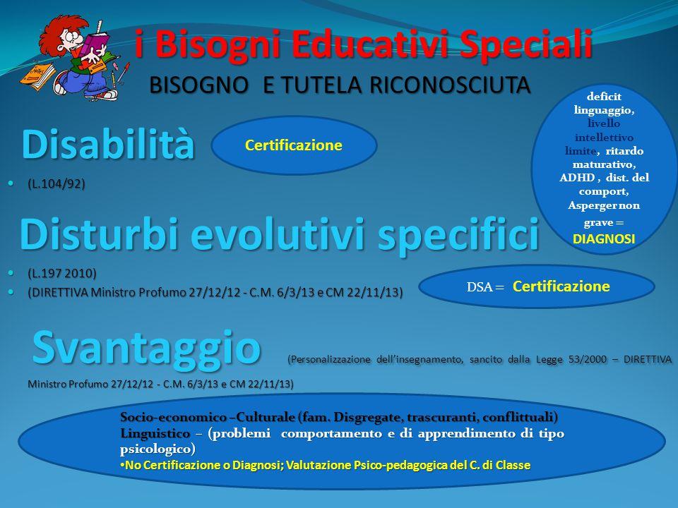 i Bisogni Educativi Speciali BISOGNO E TUTELA RICONOSCIUTA i Bisogni Educativi Speciali BISOGNO E TUTELA RICONOSCIUTA Disabilità Disabilità (L.104/92)