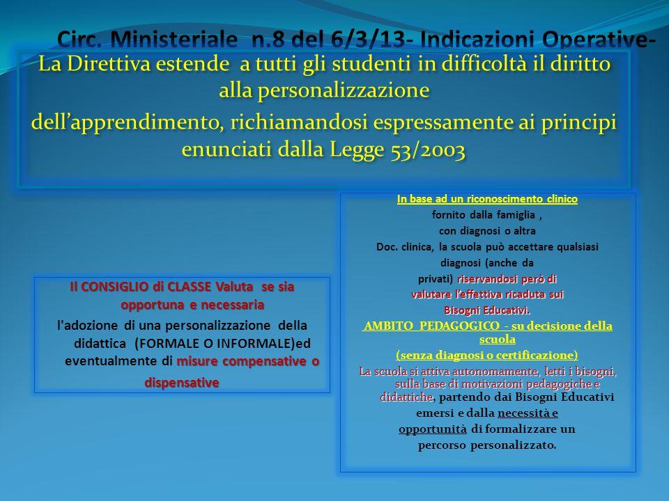 Circ. Ministeriale n.8 del 6/3/13- Indicazioni Operative- In base ad un riconoscimento clinico fornito dalla famiglia, con diagnosi o altra Doc. clini