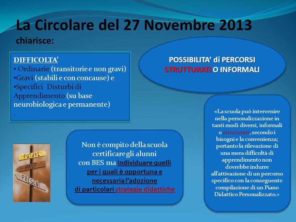 La Circolare del 27 Novembre 2013 chiarisce: DIFFICOLTA' Ordinarie (transitorie e non gravi) Gravi (stabili e con concause) e Specifici Disturbi di Ap
