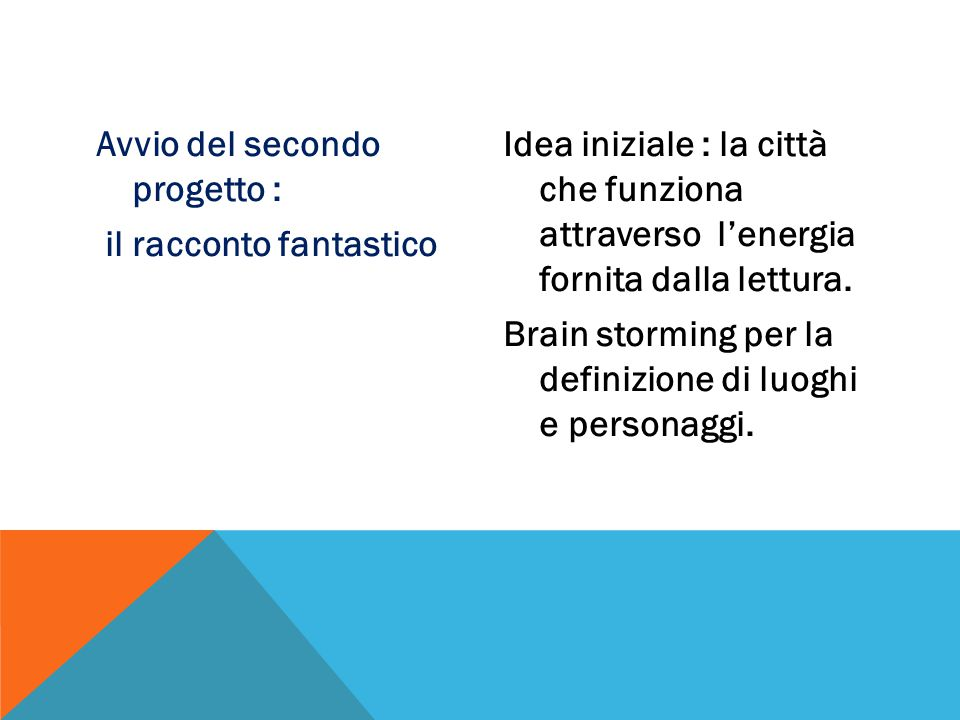 Avvio del secondo progetto : il racconto fantastico Idea iniziale : la città che funziona attraverso l'energia fornita dalla lettura.