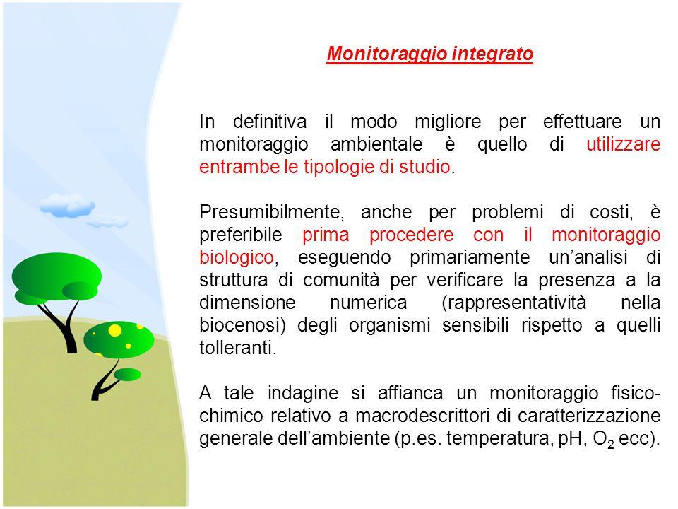 Monitoraggio integrato In definitiva il modo migliore per effettuare un monitoraggio ambientale è quello di utilizzare entrambe le tipologie di studio