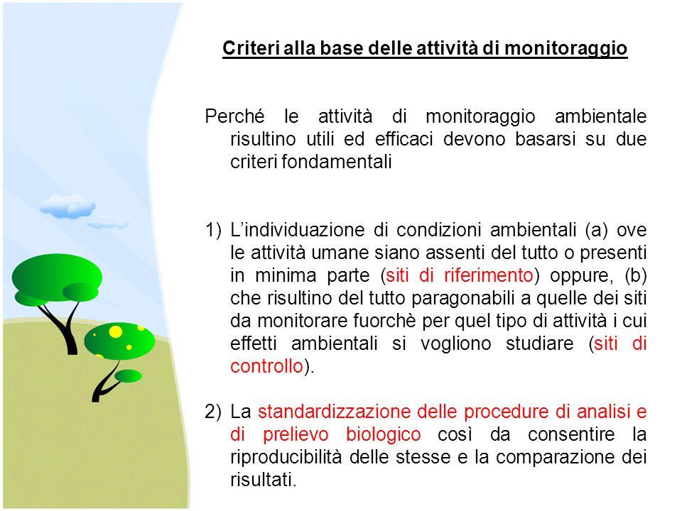 Criteri alla base delle attività di monitoraggio Perché le attività di monitoraggio ambientale risultino utili ed efficaci devono basarsi su due crite