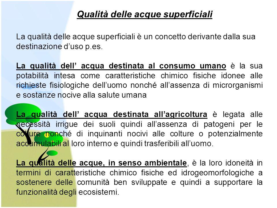 Qualità delle acque superficiali La qualità delle acque superficiali è un concetto derivante dalla sua destinazione d'uso p.es.