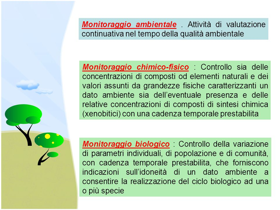 Monitoraggio ambientale. Attività di valutazione continuativa nel tempo della qualità ambientale Monitoraggio chimico-fisico : Controllo sia delle con