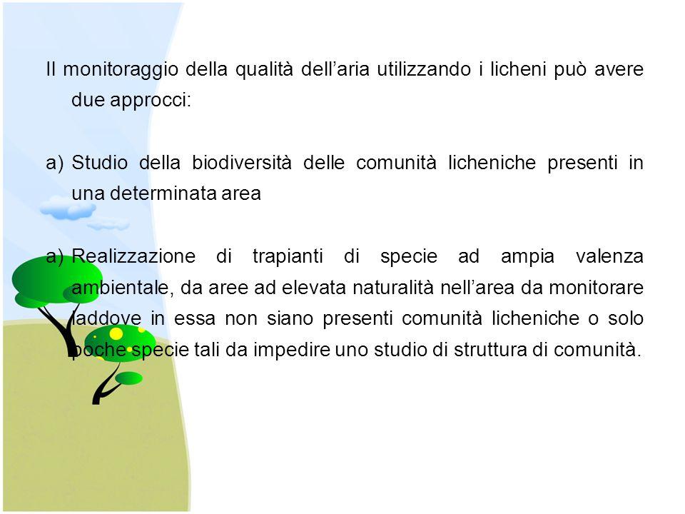 Il monitoraggio della qualità dell'aria utilizzando i licheni può avere due approcci: a)Studio della biodiversità delle comunità licheniche presenti in una determinata area a)Realizzazione di trapianti di specie ad ampia valenza ambientale, da aree ad elevata naturalità nell'area da monitorare laddove in essa non siano presenti comunità licheniche o solo poche specie tali da impedire uno studio di struttura di comunità.