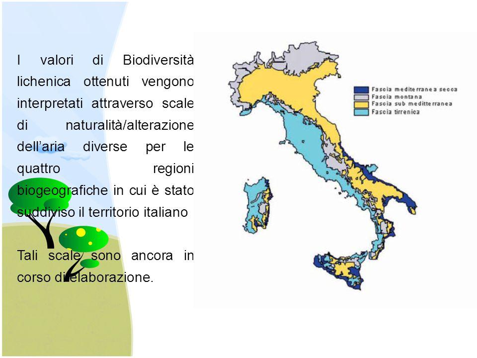I valori di Biodiversità lichenica ottenuti vengono interpretati attraverso scale di naturalità/alterazione dell'aria diverse per le quattro regioni b
