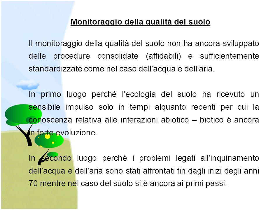 Il monitoraggio della qualità del suolo non ha ancora sviluppato delle procedure consolidate (affidabili) e sufficientemente standardizzate come nel c