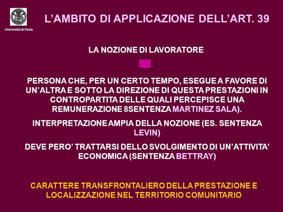 Università di Pavia L'AMBITO DI APPLICAZIONE DELL'ART.