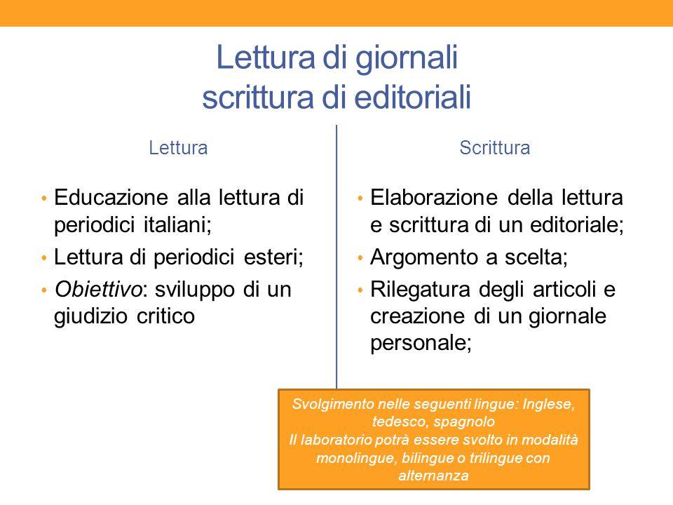 Lettura di giornali scrittura di editoriali Lettura Educazione alla lettura di periodici italiani; Lettura di periodici esteri; Obiettivo: sviluppo di