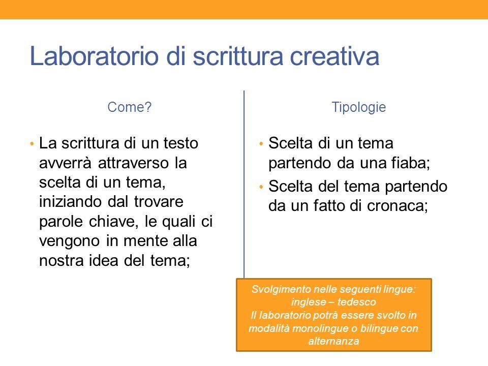 Laboratorio di scrittura creativa Come? La scrittura di un testo avverrà attraverso la scelta di un tema, iniziando dal trovare parole chiave, le qual