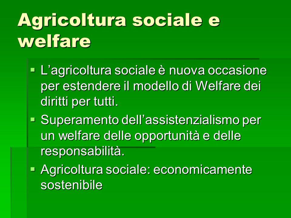 Agricoltura sociale e welfare  L'agricoltura sociale è nuova occasione per estendere il modello di Welfare dei diritti per tutti.