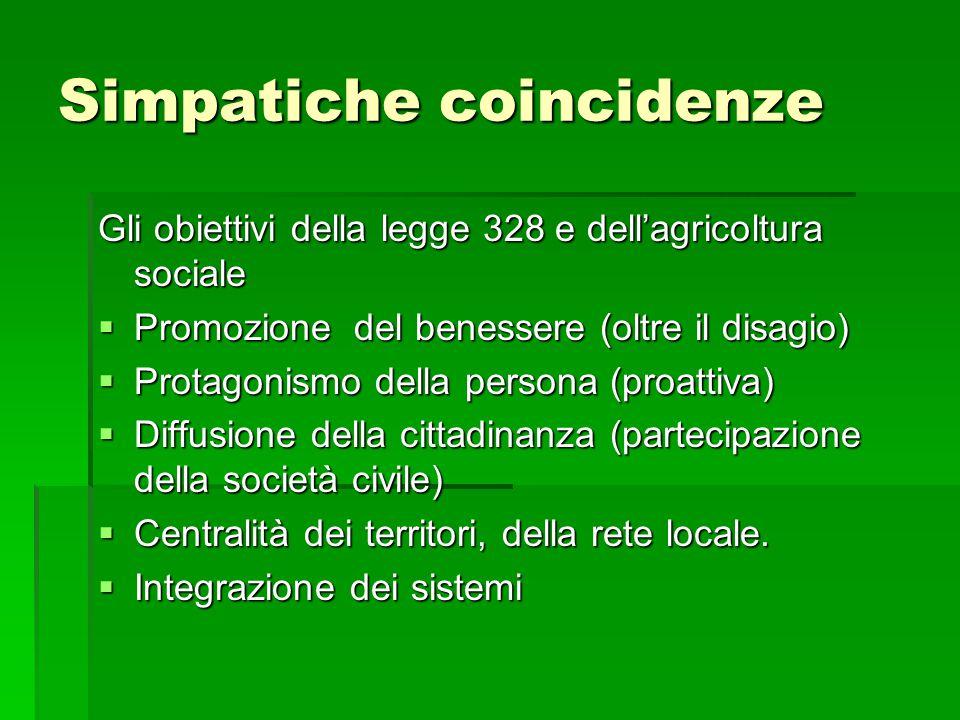 Simpatiche coincidenze Gli obiettivi della legge 328 e dell'agricoltura sociale  Promozione del benessere (oltre il disagio)  Protagonismo della persona (proattiva)  Diffusione della cittadinanza (partecipazione della società civile)  Centralità dei territori, della rete locale.