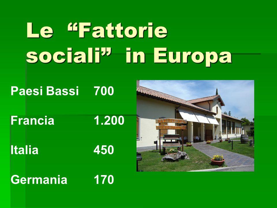 Le Fattorie sociali in Europa Paesi Bassi 700 Francia 1.200 Italia450 Germania170