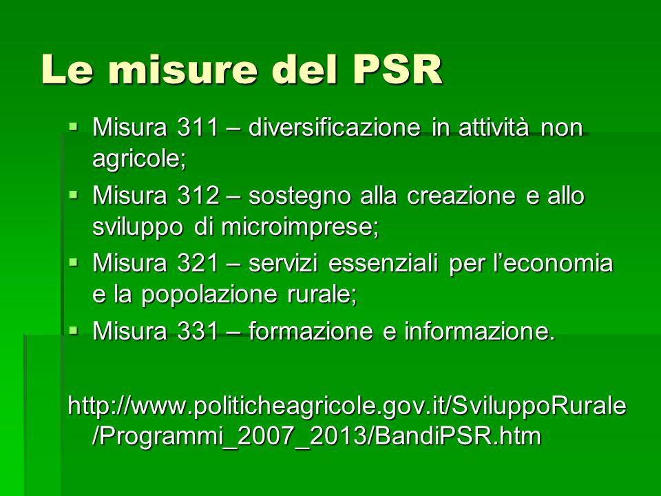 Le misure del PSR  Misura 311 – diversificazione in attività non agricole;  Misura 312 – sostegno alla creazione e allo sviluppo di microimprese;  Misura 321 – servizi essenziali per l'economia e la popolazione rurale;  Misura 331 – formazione e informazione.