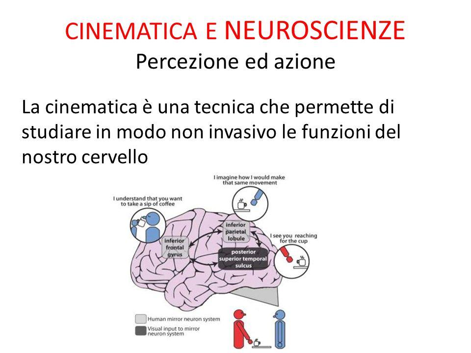 CINEMATICA E NEUROSCIENZE Percezione ed azione La cinematica è una tecnica che permette di studiare in modo non invasivo le funzioni del nostro cervel