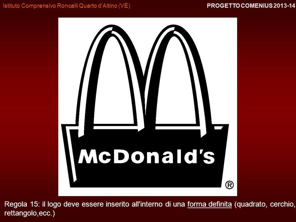 Istituto Comprensivo Roncalli Quarto d'Altino (VE) PROGETTO COMENIUS 2013-14 Regola 15: il logo deve essere inserito all'interno di una forma definita