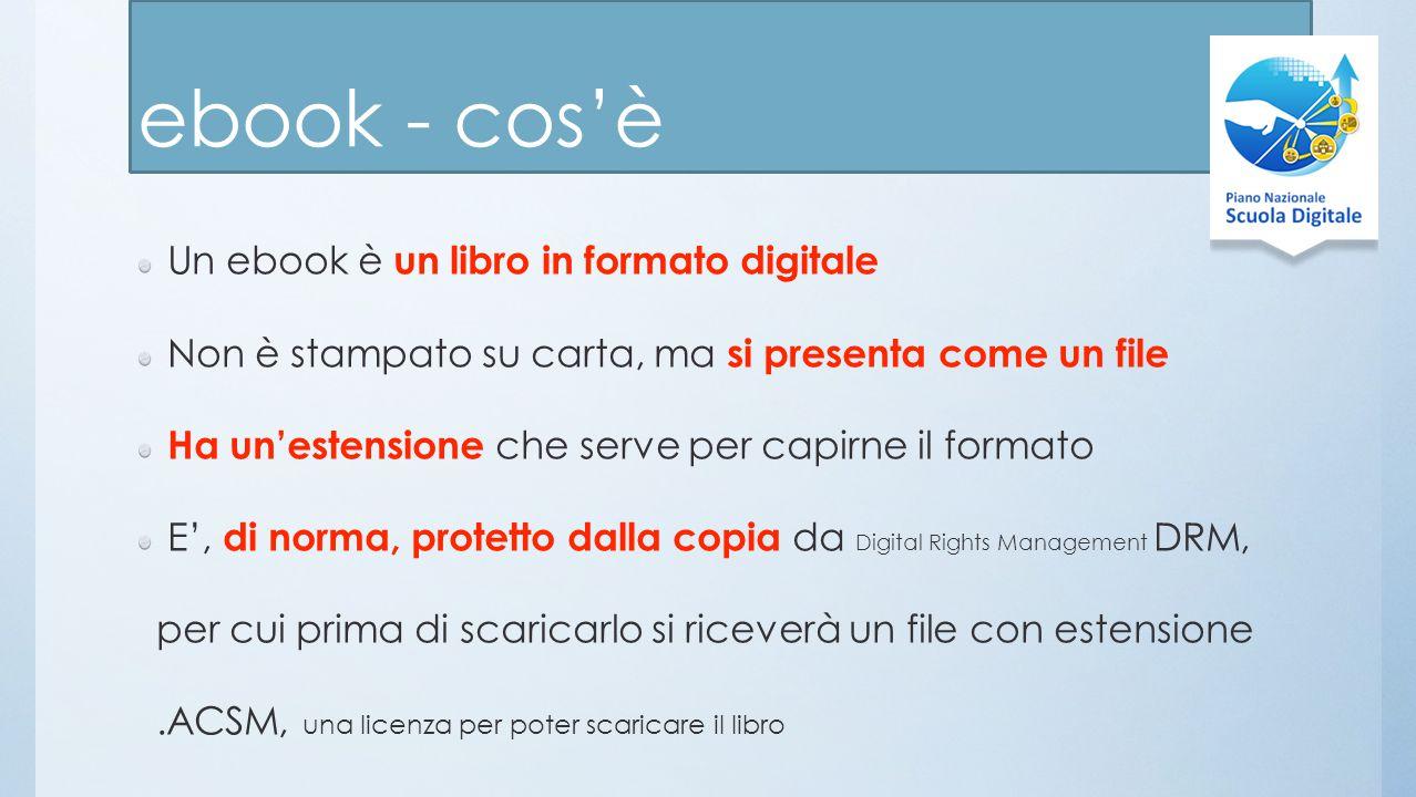 ebook - cos'è Un ebook è un libro in formato digitale Non è stampato su carta, ma si presenta come un file Ha un'estensione che serve per capirne il formato E', di norma, protetto dalla copia da Digital Rights Management DRM, per cui prima di scaricarlo si riceverà un file con estensione.ACSM, una licenza per poter scaricare il libro
