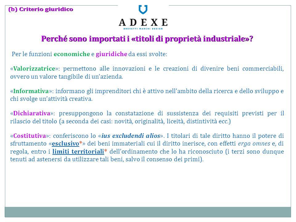 Perché sono importati i «titoli di proprietà industriale»? Per le funzioni economiche e giuridiche da essi svolte: «Valorizzatrice»: permettono alle i